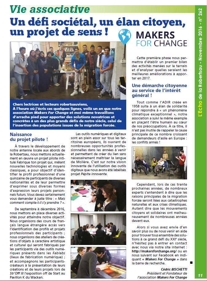 Article de presse local sur la première phase du projet pilote